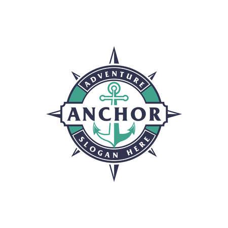 Anchor nautical marine circle seal logo design with text
