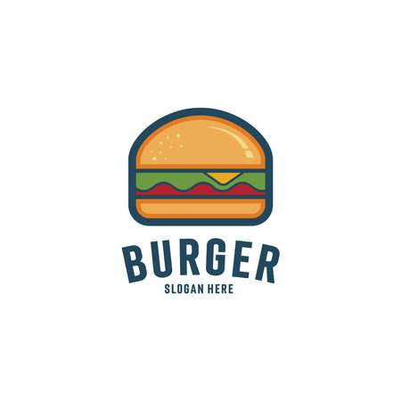 Burger abstract outline vector logo template