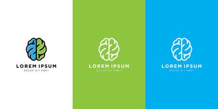 brain logo vector design line art