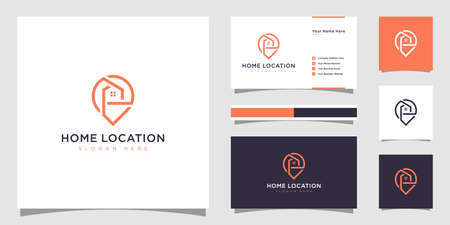 Home location with house and map marker logo and business card