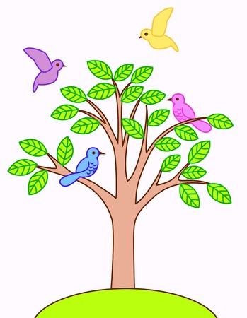Tree and bird Illustration