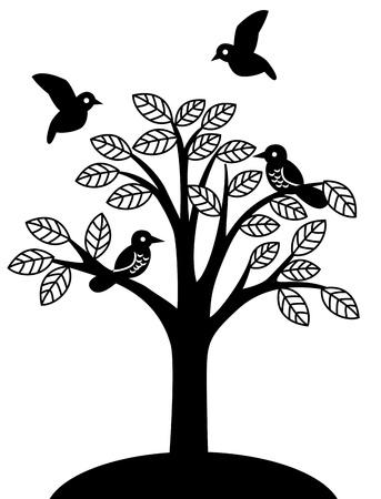 Flight of little birds on the tree. Black silhouette image on white background  Illustration