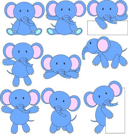 Elephant cartoon set Illustration