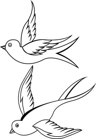 golondrinas: Swallow pájaro tatuaje