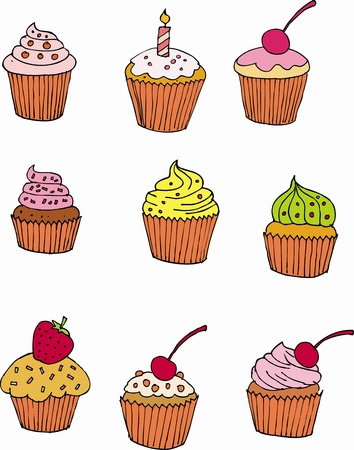 Cup cake hand drawing Illustration