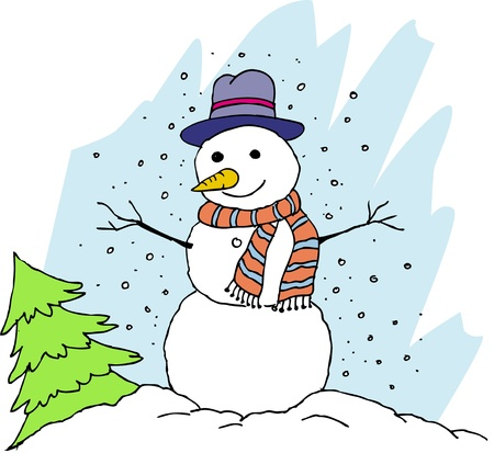 Vector Christmas background with snowman  Vector