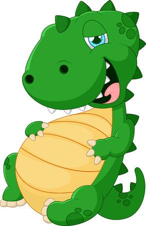 glut: Cartoon dinosaur glut eating