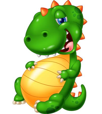 glut: Cartoon smile dinosaur glut eating