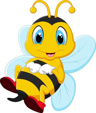 abeja caricatura: Abeja cartón feliz