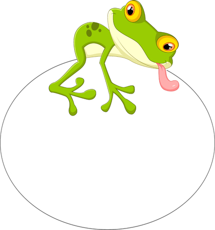 frog egg: Cartoon frog with big egg