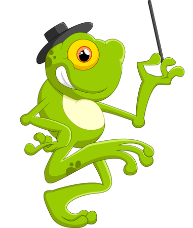 croaking: Cartoon frog holding magic wand