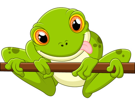 croaking: Cartoon frog holding tree