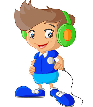 listening to music: Cartoon boy holding microphone