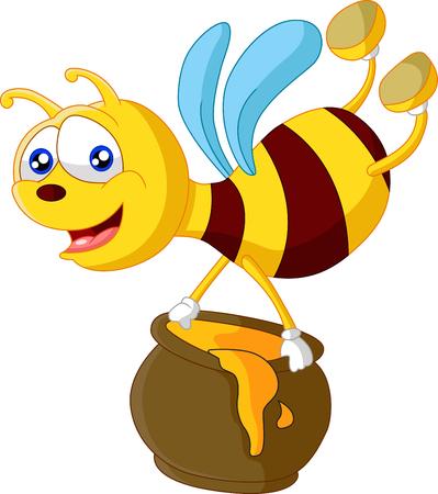 nectars: Bee cartoon holding honey bucket