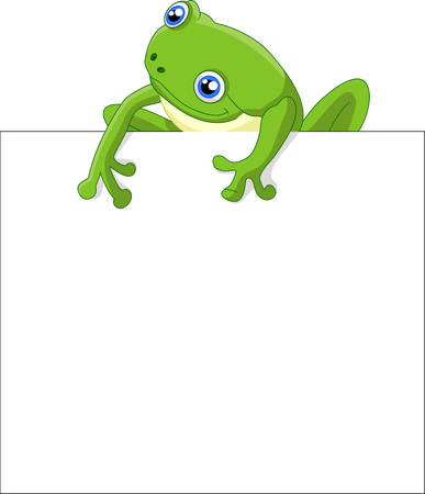 tiny frog: Funny frog cartoon with blank sign Stock Photo