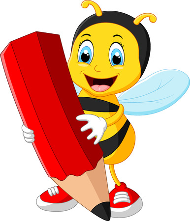 red pencil: Bee cartoon holding red pencil