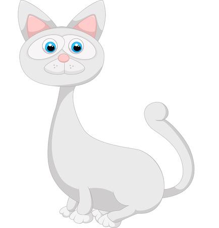 on white: Cute white cat cartoon