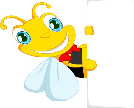 pollen: Bee cartoon holding blank paper