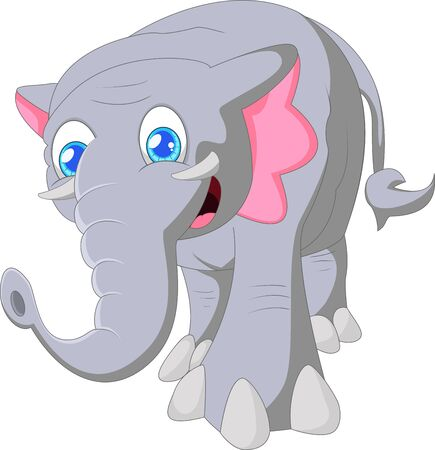 �back ground�: Cartoon cute elephant on white back ground