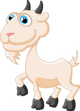 posing: Cartoon happy animal goat posing