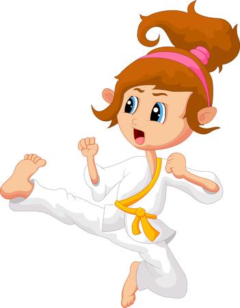 Cartoon Girl playing karate