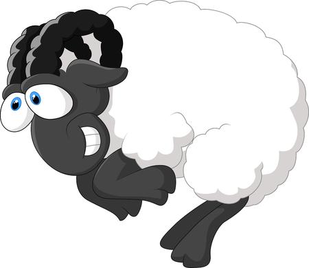 bushy: Cartoon happy sheep Illustration