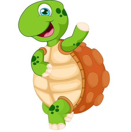 tortuga de caricatura: tortuga de dibujos animados agitando la mano, aislados en blanco Vectores