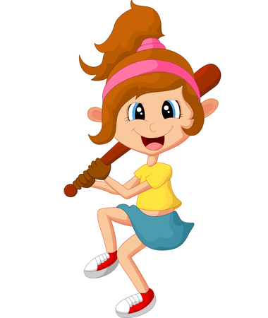 Cartoon girl holding stick base ball Illustration