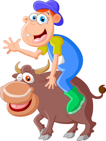 enraged: Cartoon bull with riding men