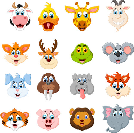 cute animal cartoon: Collection of cute face animal
