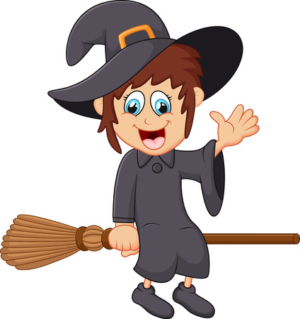 Cartoon young witch flying on her broom Illustration