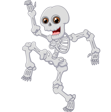 Halloween Skeleton jumping with dance on isolated background Illustration