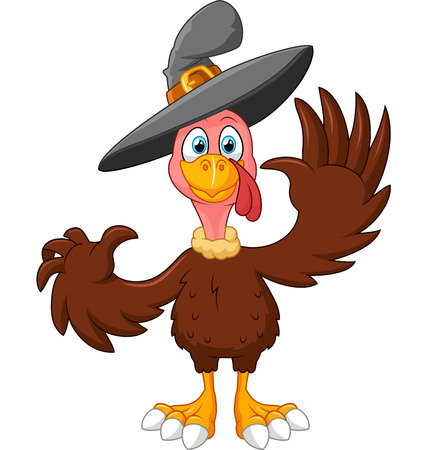 Cute turkey cartoon wearing hat