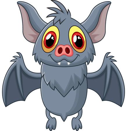 vampire bat: Happy Vampire Bat Cartoon Character Flying Illustration