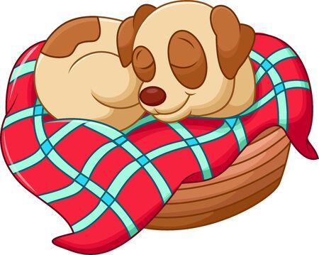 dog sleeping: Cute dog cartoon sleeping