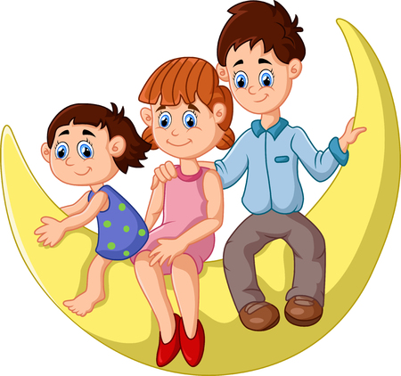 father and child: happy family sit on the moon Illustration
