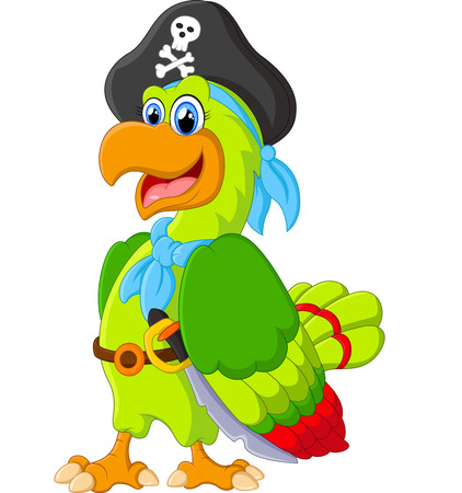 chest wall: cute parrot with pirate costum
