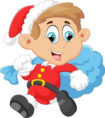 cartoon trees: little kid with santa costum
