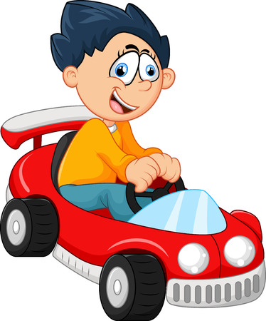 train table: Little boy playing with his car toy Illustration