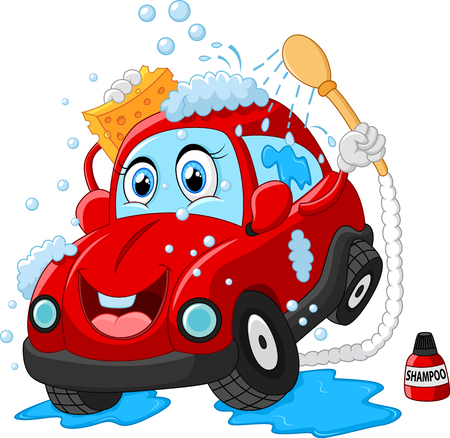 wash: Personaje de dibujos animados de lavado de coches Vectores