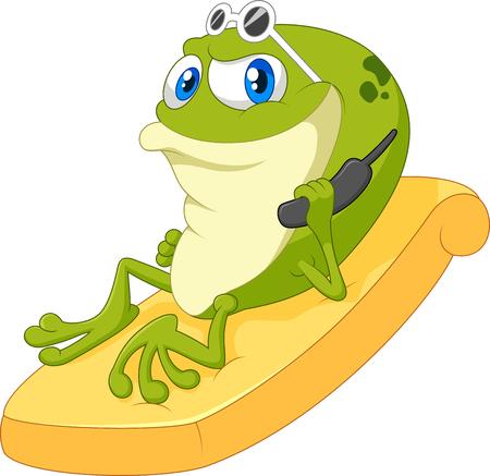 lie down: Cartoon frog relax