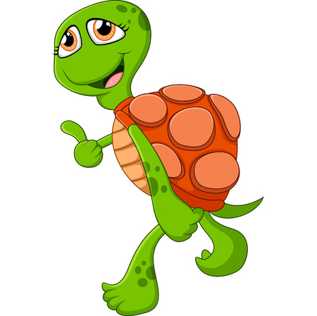 thumps up: Cartoon cute turtle giving thumb up Illustration
