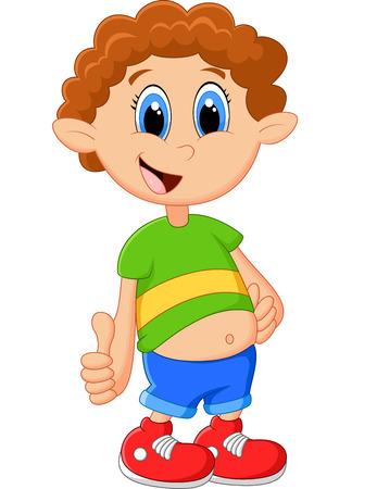 tummy: Cartoon boy giving thumb up