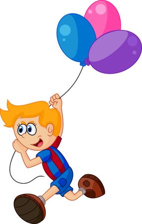 jovial: Cartoon little boy holding balloon