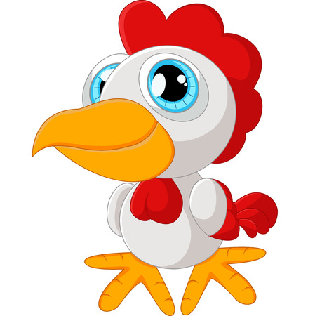 cute animal cartoon: Cute rooster cartoon posing Stock Photo