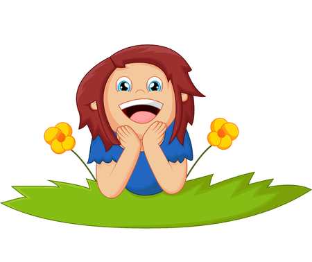 cartoon little girl: Cartoon girl lie down with flower