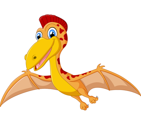 pterodactyl: Happy pterodactyl cartoon illustration Stock Photo