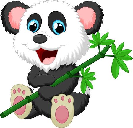 cute panda: Cute panda cartoon eating bamboo