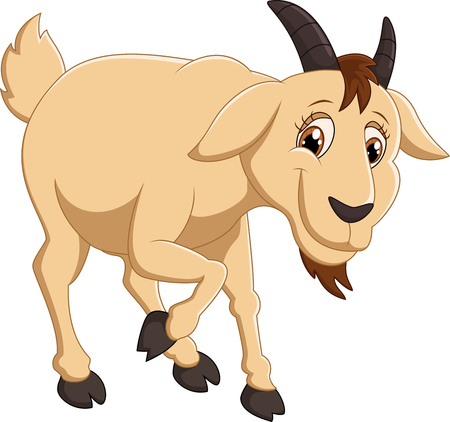 domestic goat: Cartoon goat character Stock Photo