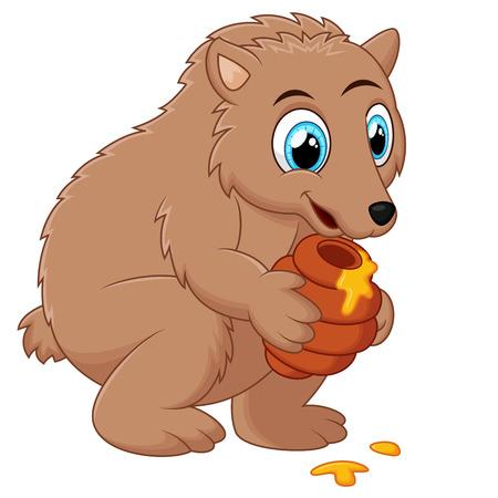 honey pot: Cute cartoon bear holding honey pot